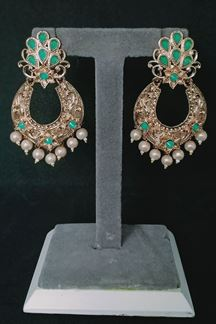 Picture of Splendid gold plated designer earrings with Green Stone