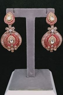 Picture of Impeccable Red Color Earrings with Vilandi Stones