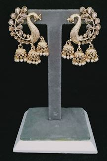 Picture of Peacock Design Stone Brass Jhumki Earring
