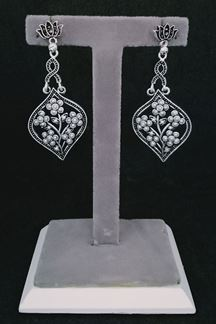 Picture of Silver Oxidized Lotus Jhumka Earrings