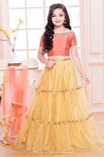 Picture of Stunning Peach & Yellow Designer Kids  Lehenga Choli
