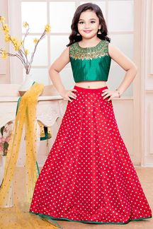Picture of Cheerful Red & Green Kids  Designer  Lehenga Choli