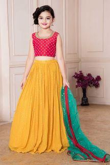 Picture of Red & Yellow Color Kids Lehenga Choli