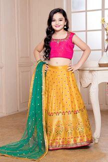 Picture of Pink & Yellow Kids Wear designer Lehenga Choli