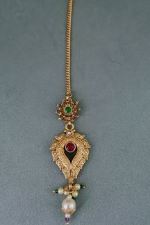 Picture of Mehrunnisa Traditional Pink & Green Kundan Maang Tikka