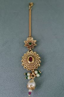 Picture of Glorious Pink & Green Stone Worked Maang Tikka