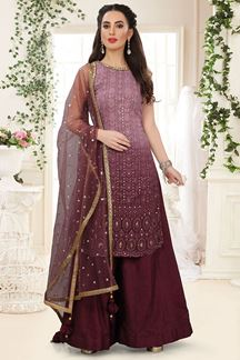 Picture of Wine Color Georgette Embroidery Palazzo suit