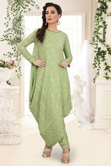 Picture of Cawl Style Georgette Pista Green Designer Suit