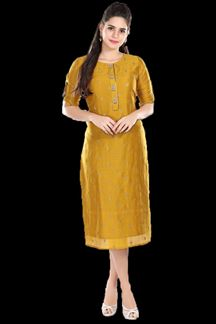 Picture of Gleaming Mustard Yellow Colored  Embroidered Kurti