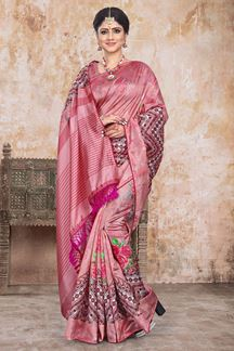 Picture of Digital Printed Art Silk Saree in Pink