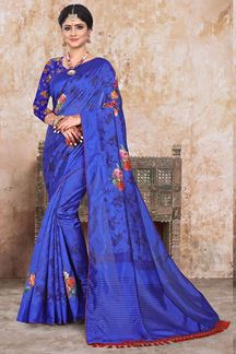 Picture of Blue Art Silk Abstract Print Printed Saree