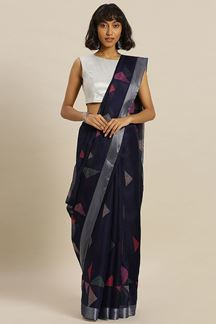 Picture of Blooming Navy Blue Colored Printed Kora Silk Saree