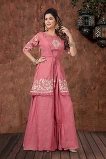Picture of Pink Jacket Style Palazzo Suit