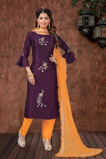 Picture of Purple & yellow Straight Cut Designer Suit