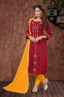 Picture of Maroon & Yellow Color Straight Cut Designer Suit