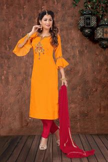 Picture of Yellow & Pink Color Straight Cut Designer Suit