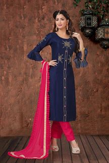 Picture of Blue & Pink Color Straight Cut Designer Suit