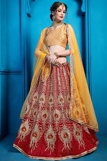 Picture of Maroon Sequins Embroidery Art Silk Lehenga With Yellow Choli and Dupatta