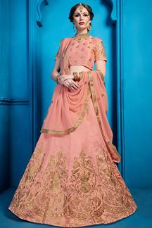 Picture of Peach Sequins Art Silk Party Wear Lehenga Choli With Dupatta