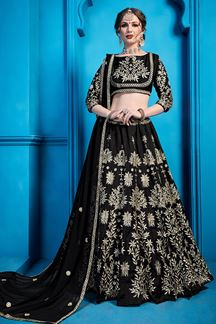 Picture of Black Embroidered Art Silk Lehenga Choli With Dupatta