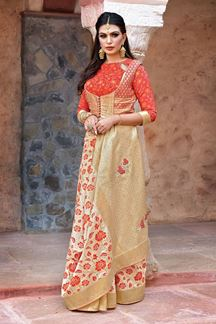 Picture of Cream & Orange Jacquard Silk Designer Saree