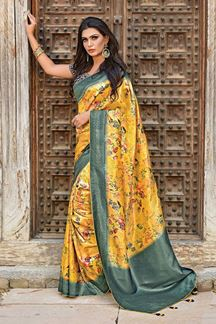 Picture of Graceful Yellow-Blue Designer printed Weaved Silk Saree