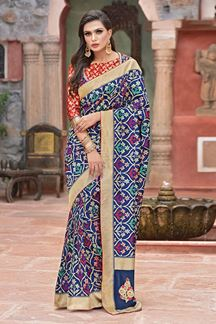 Picture of Blue & Red Weaved silk Designer Saree