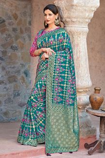 Picture of Amazing Teal Green & Pink Colored Festive Wear Woven Silk Saree