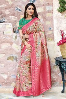 Picture of Pink & Green Weaved Silk Designer Saree