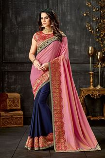 Picture of Be Fiesty - Let The Saree With Vivid Hues Pink & Blue Saree