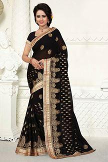 Picture of Glamorous black saree with zari work
