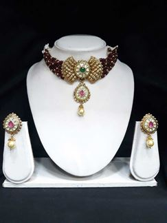 Picture of Shinning Diva Kundan Choker Necklace Set in Pink & Green with Pearls