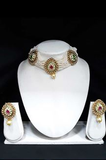 Picture of Traditional Choker Necklace Set With Pink & Green Kundan