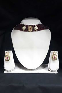 Picture of Splendid Designer Choker Set With Maroon Pearls