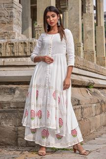 Picture of White Hand Block Print Suit With Palazza
