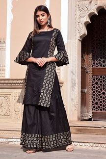 Picture of Black Hand Block Print Sharara style Suit