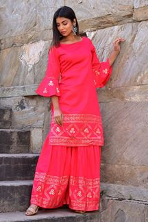 Picture of Gajri Hand Block Print Sharara Style Suit