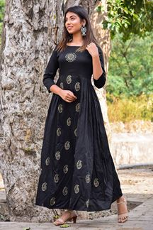 Picture of Black Block Print Flared Kurti