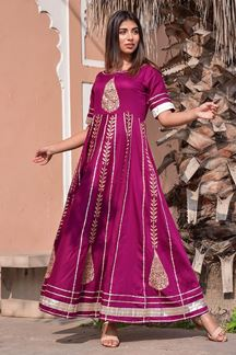 Picture of Purple Hand Block Print Jam Silk Anarkali Kurti