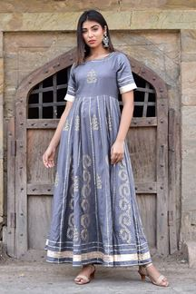 Picture of Grey Hand Block Print Anarkali Kurti