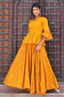 Picture of Mustard Hand Block Print Skirt Top Set