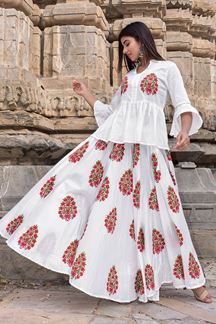 Picture of White Hand Block Print Skirt Top Set