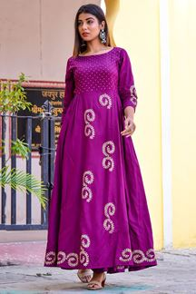 Picture of Purple Flared Floor Length Kurti