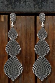 Picture of Long Leaf Shape Earring With Silver Beads