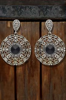 Picture of Jewel junk Black Stone Rhodium Plated Circular Earring