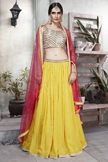 Picture of Sophisticated Yellow & off-white Colored Silk Lehenga Choli
