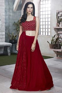 Picture of Trendy Red Colored Designer Georgette Lehenga Choli
