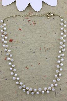 Picture of Zig Zag Button Pearl Necklace Set In White, Colors