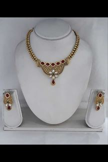 Picture of Mystical Long Floral Necklace Set With Red & Green Stone