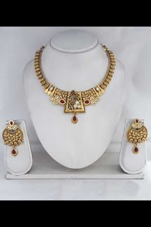 Picture of Regal Gold Plated Choker Necklace Set With Maroon Stones